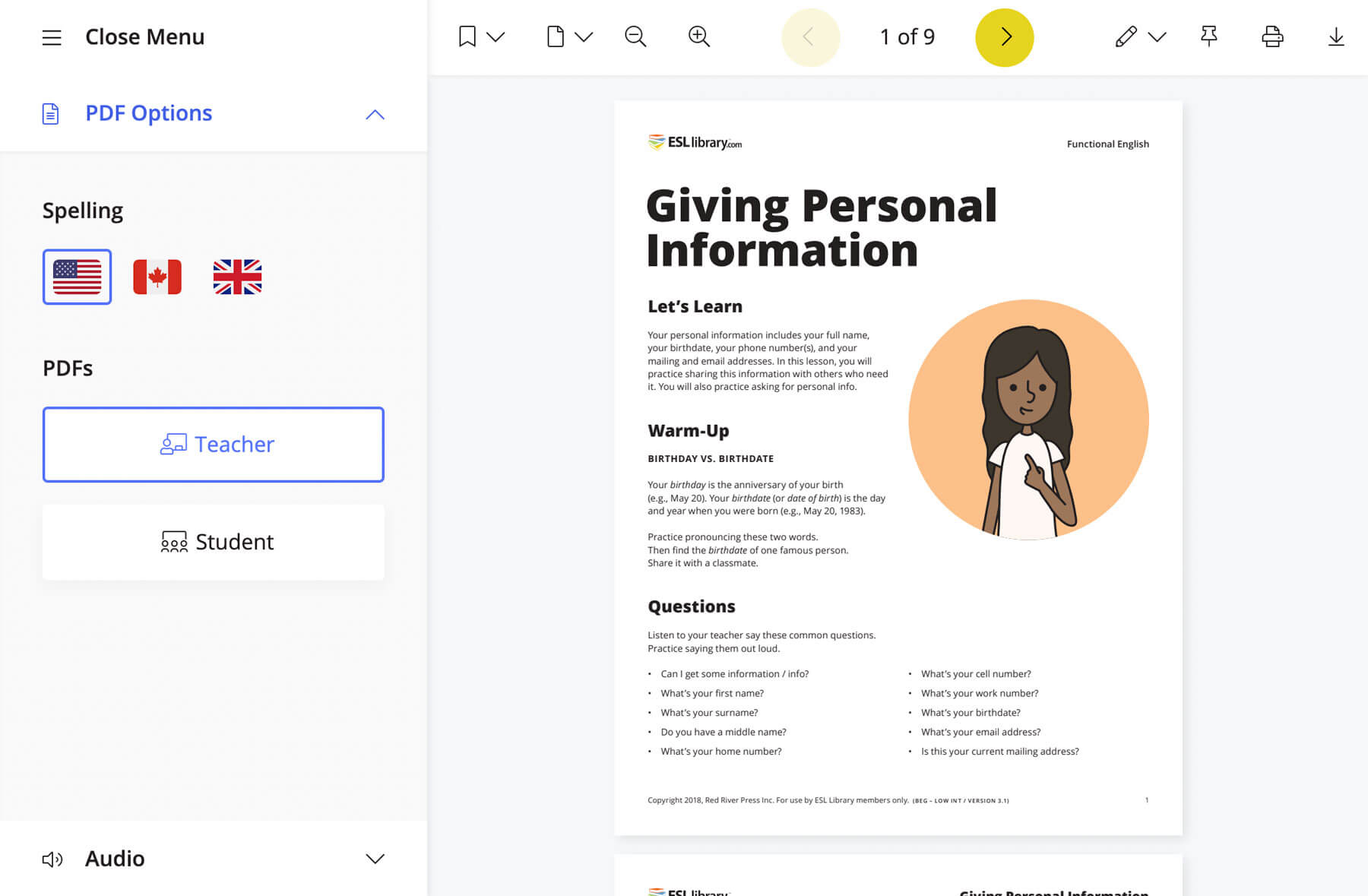 A screenshot of our PDF viewer, showing a lesson PDF, the spelling versions available, and other features including printing, annotation, and sharing.