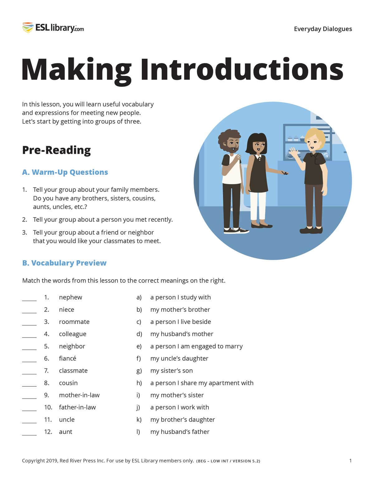 A sample lesson page from the print version of a dialogues lesson on Making Introductions, showing pre-reading activities such as warm-up questions and a vocabulary preview, as well as an illustration of three people talking in a cafe.