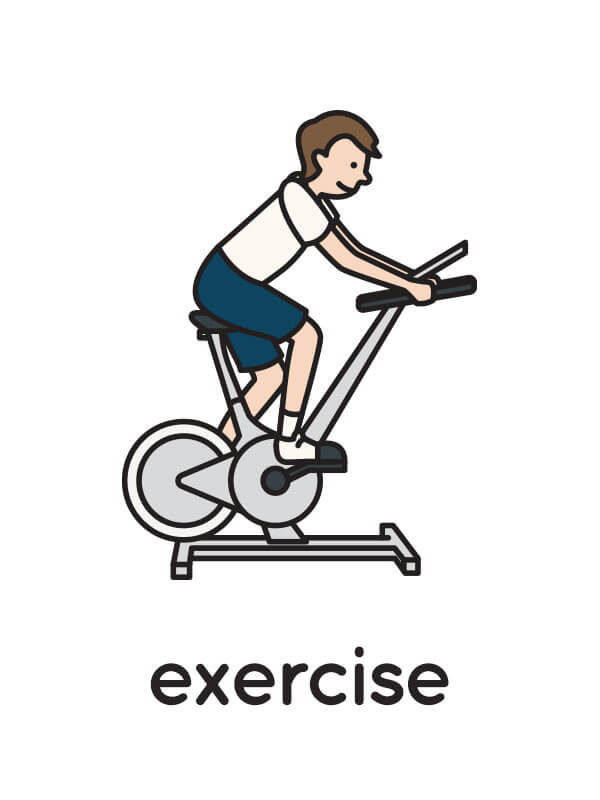 "A floating flashcard sample with an illustration of a man on an exercise bike, and the caption ""exercise."""