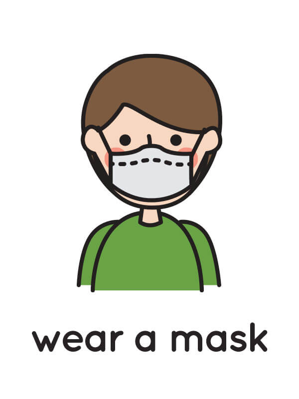 "A floating flashcard sample with an illustration of a person wearing a medical mask, and the caption ""wear a mask."" A pair of scissors are layered over the flashcard indicating it can be printed and cut out."