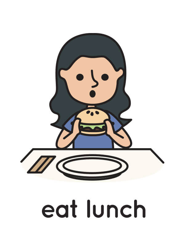 """A floating flashcard sample with an illustration of a girl eating a burger, and the caption """"eat lunch."""""""