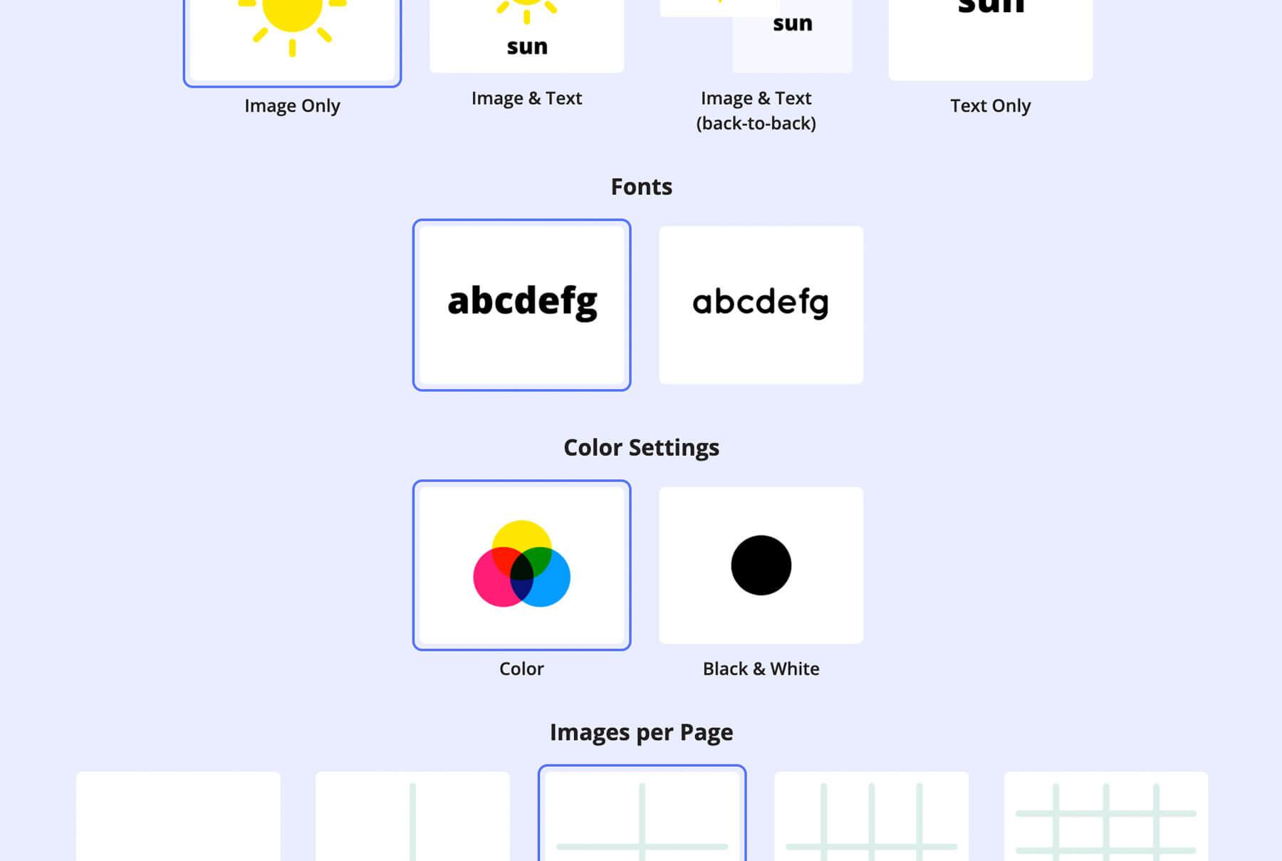 A screenshot of flashcard PDF settings (including image/text settings, font settings, color settings, flashcards per page, etc.)