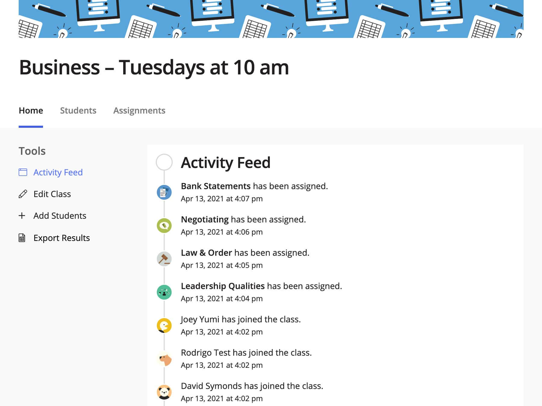 A screenshot of a class page for a business class. It is displaying a list of activity, such as students joining, and lessons assigned.