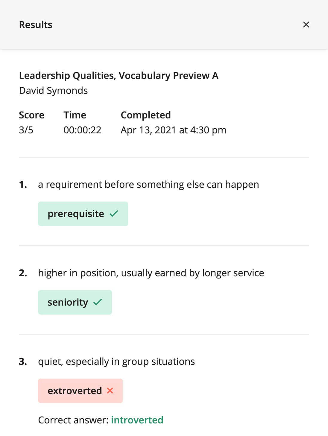 A results modal for a student's vocabulary preview task. It shows the student's final score, time on task, completion time, as well as their answers.