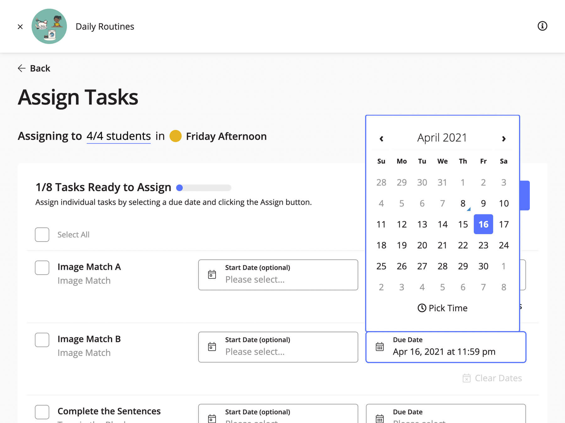 A screenshot of part of the task assignment process. A teacher is selecting a due date for an image matching task for their Friday Afternoon class.
