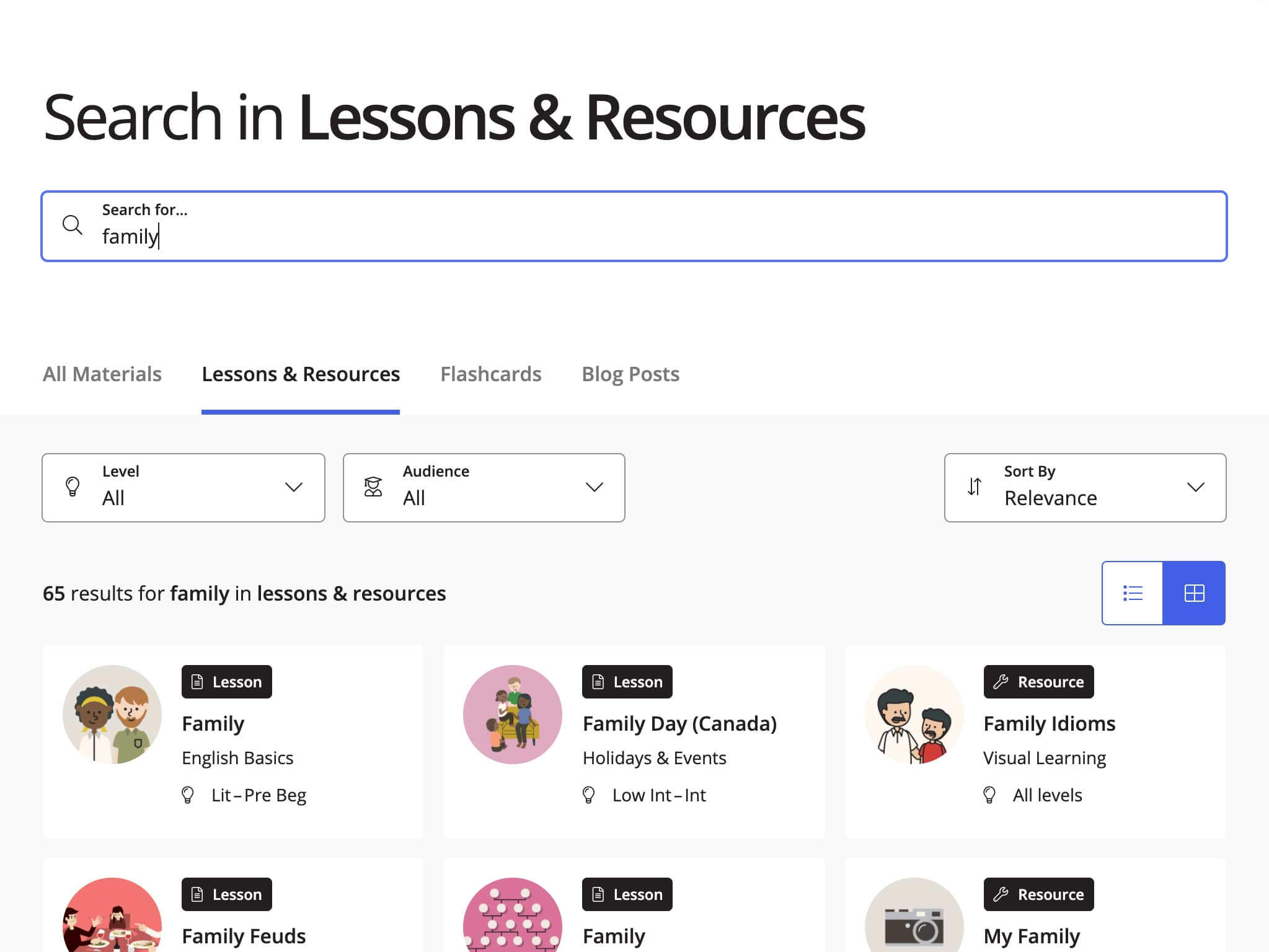 """A screenshot of results for the search term """"family"""" inside lessons and resources. Also pictured are sorting, filtering, and view options."""