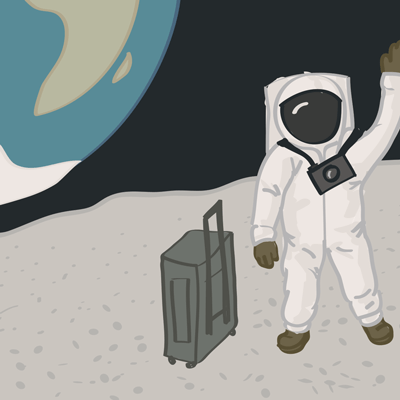 Person in a space suit, wearing a camera and waving while standing next to a suitcase on the moon. Earth is in the sky.