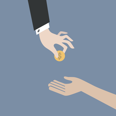One hand (where the person is wearing a suit) giving a single coin to another hand.