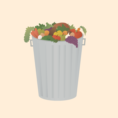 A garbage can full of food
