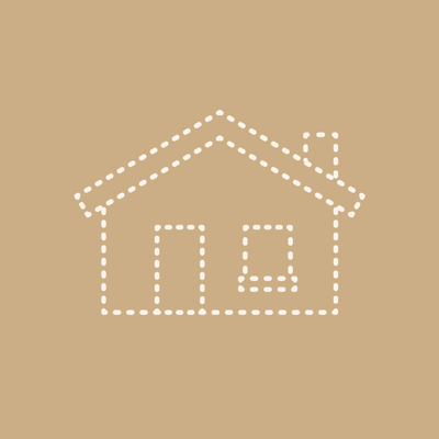 A house drawn with dotted lines