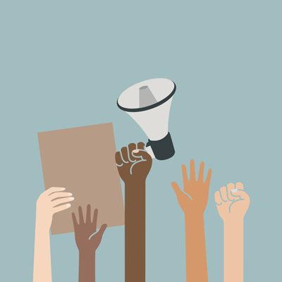 Raised hands and fists. One hand holds a megaphone.