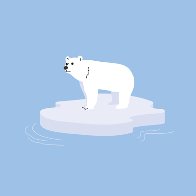 A polar bear standing on a small piece of ice, floating on water