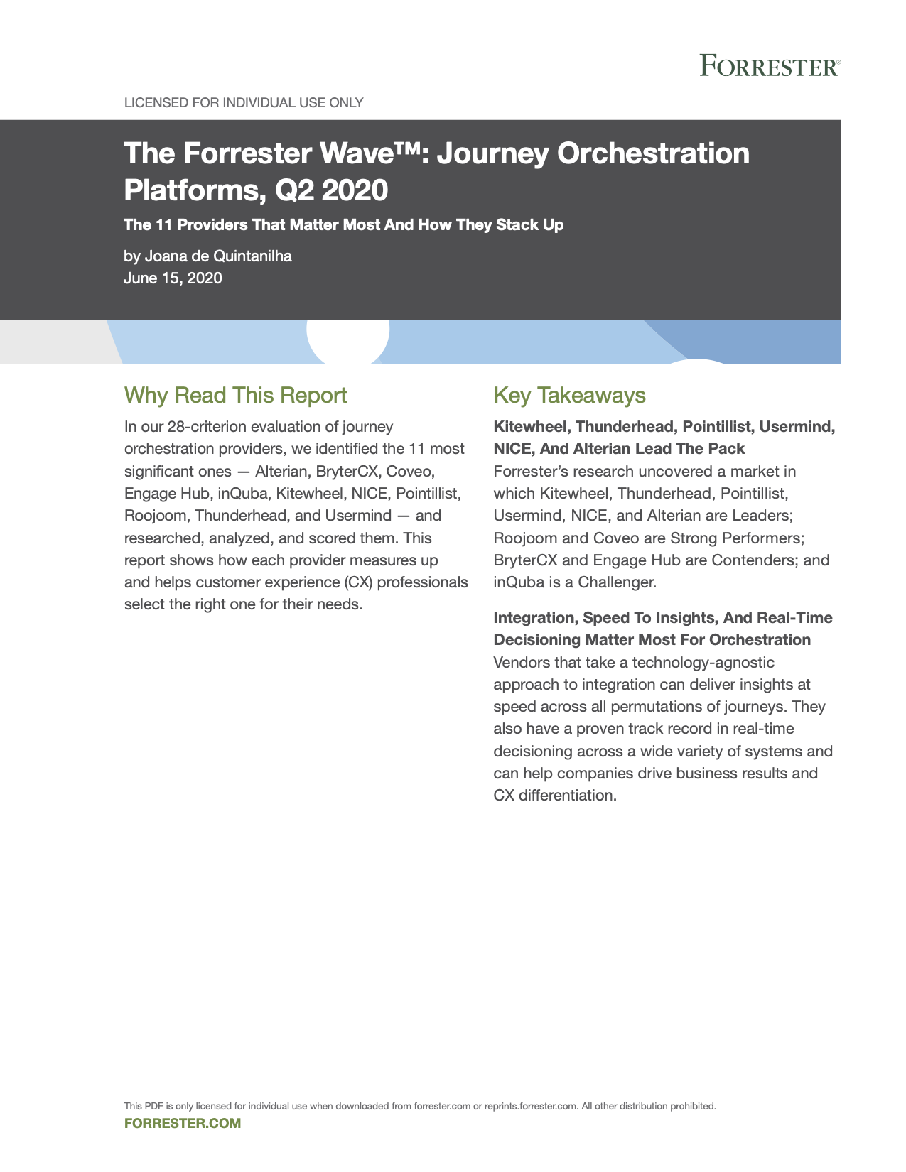Usermind Named a Leader in The Forrester Wave™: Journey Orchestration Platforms, Q2 2020