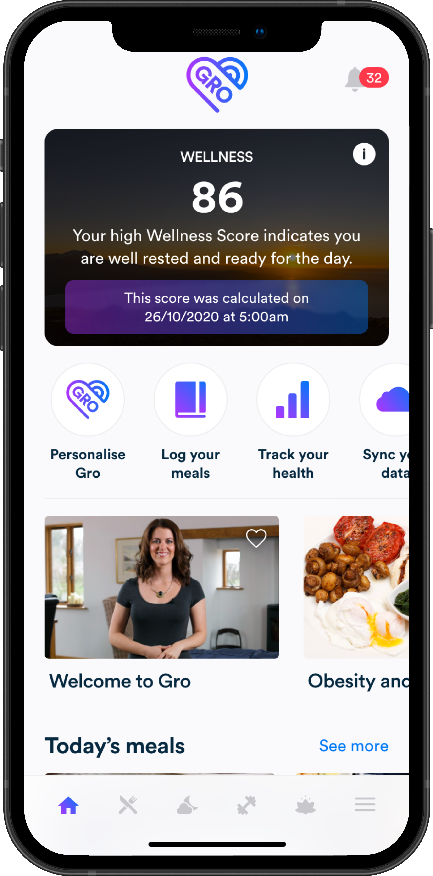 Gro Health app showing a Wellness Score of 86