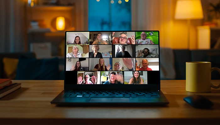 Laptop with a virtual meetup