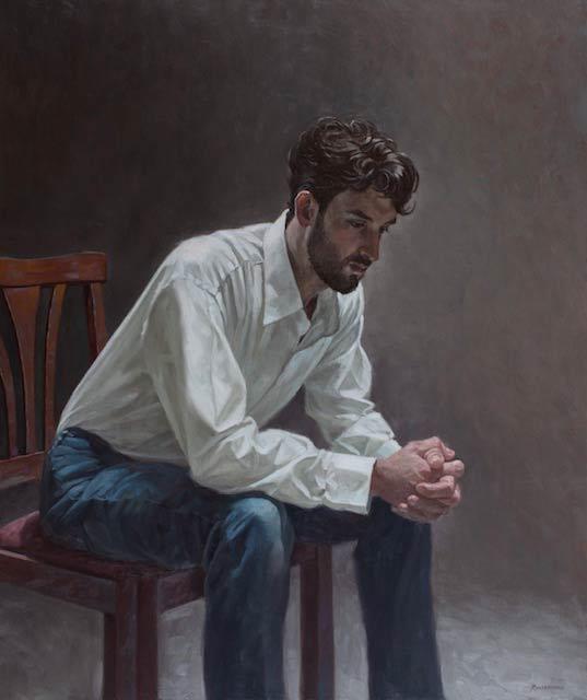 "Louis Russomanno ""Studio Light"" Priced: $5,600 Oil on canvas, 36″ x 42″"