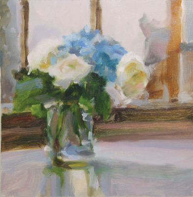 """Patrons' Award for Painting: Janine Dunn Wade of Doylestown, PA """"Parisian Blue"""" Oil"""