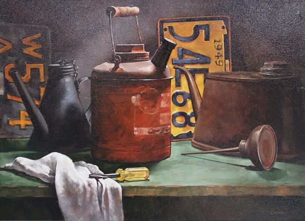 "Patrons' Award for Painting: Larry Chestnut of Trenton, NJ  ""Still Life w/ License Plates"" Oil"