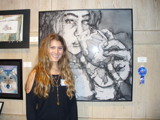 """1st prize Christina Kaplan from Council Rock North High School """"Self Portrait"""""""