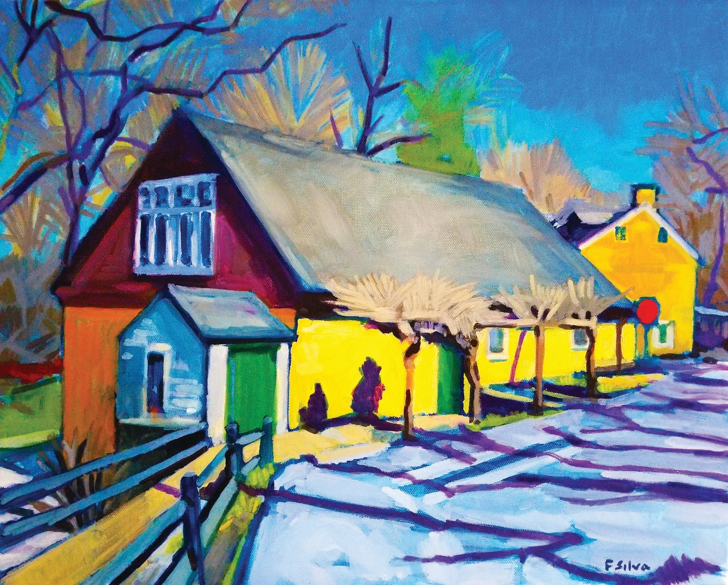 """""""Winter Shadows,"""" an oil on board, selected as the signature image for the 92nd annual Phillips' Mill Juried Art Show, is by Frenchtown, N.J.-based artist Francisco Silva."""