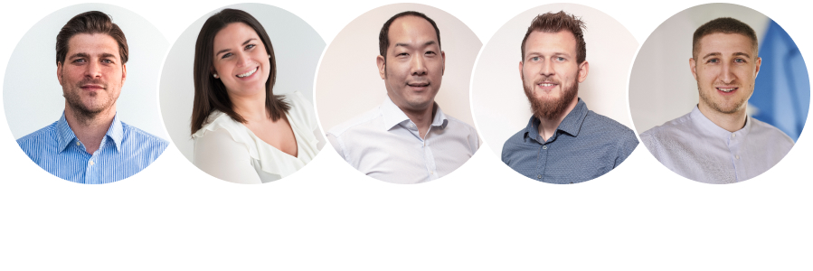 Portraits von 5 Mitarbeitern