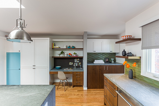 A home office of a kitchen remodel in San Mateo