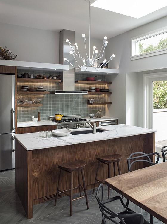 modern walnut cabinetry kitchen design