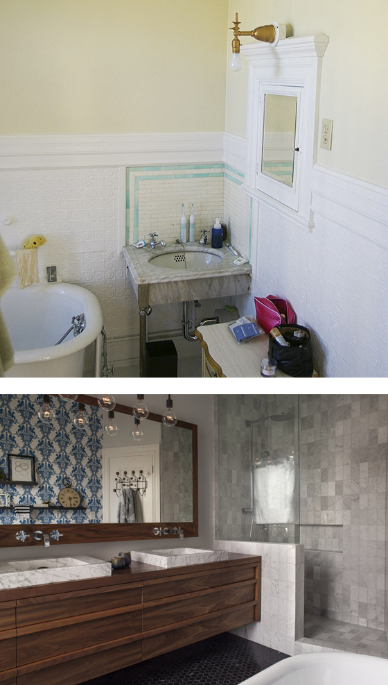 modern walnut vanity bathroom design