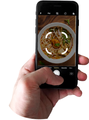 phone taking pictures of food