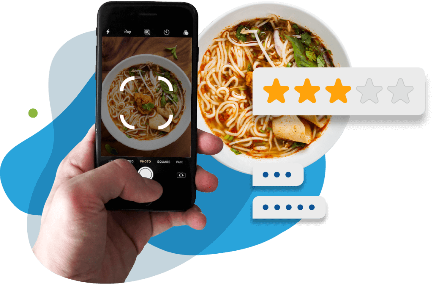 Person taking a photo of noodle meal with his phone with 3 out of 5 star rating