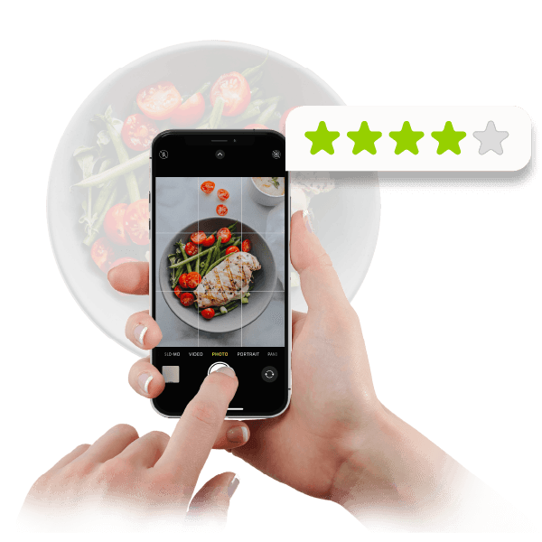 A smartphone capturing a healthy dish with a 4-start rating