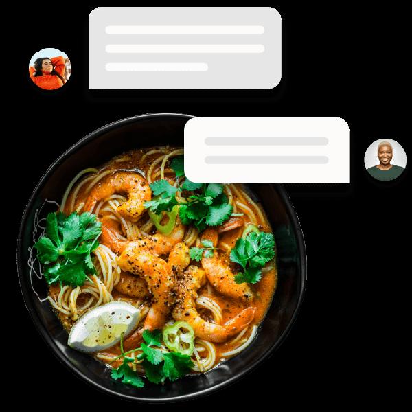 A laksa noodle dish with conversation bubbles