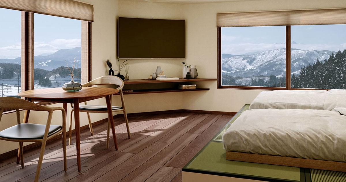 Living room of the new development at Kawamatoya