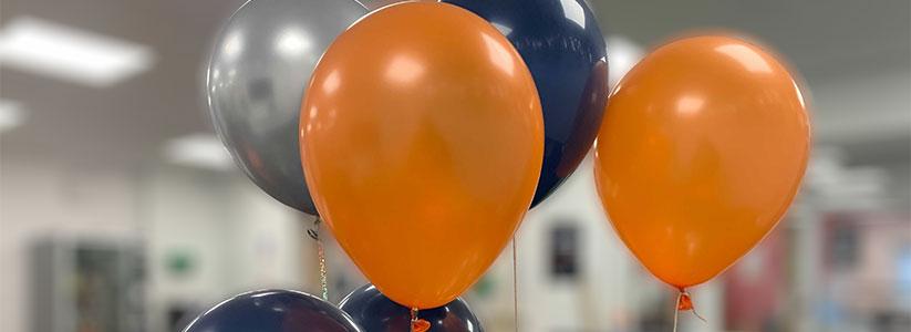 Orange and blue balloons