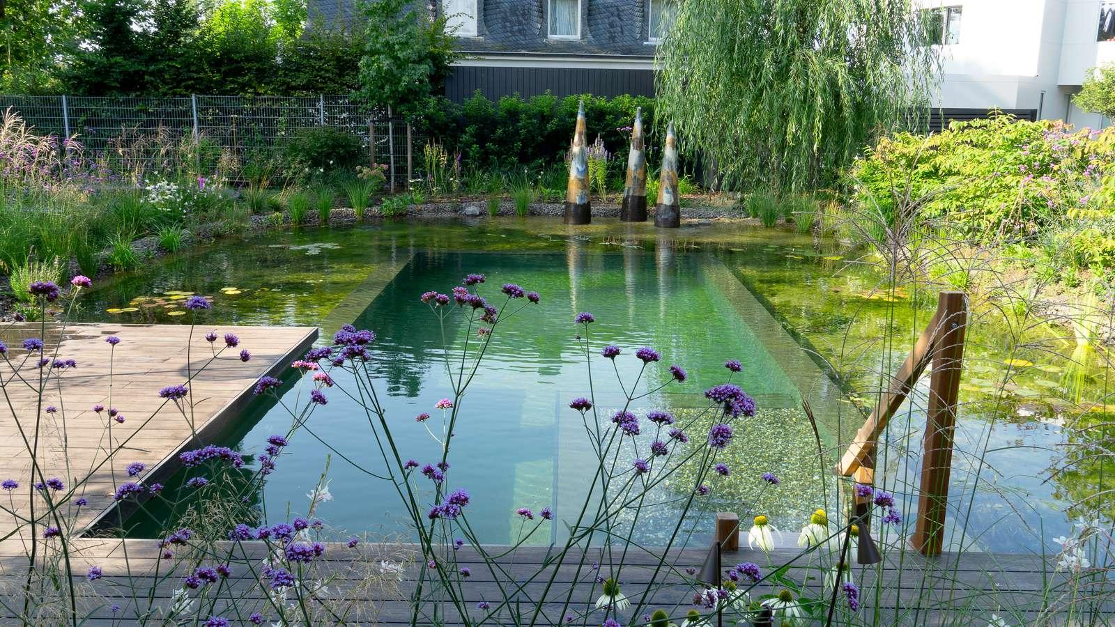 Naturnaher Schwimmteich mit Holzsteg und Outdoorküche
