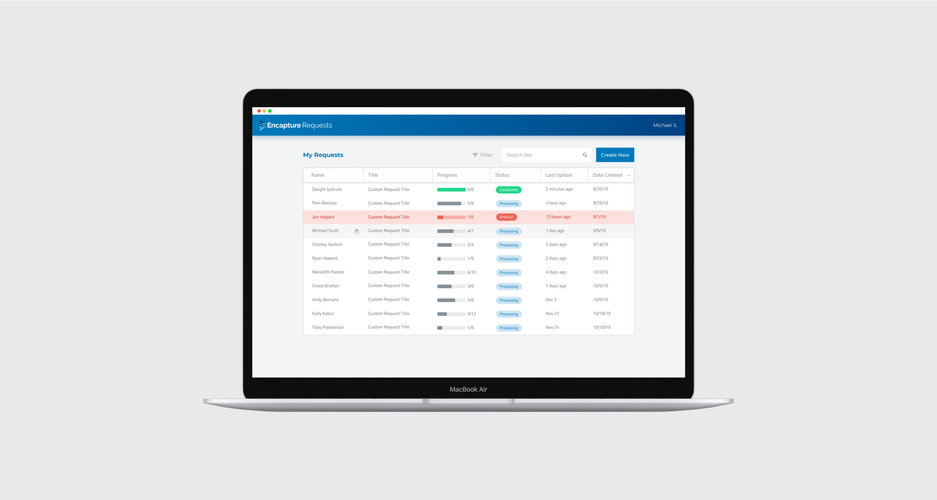 An image of a simple, well-designed interface that makes each Imagine Solution's customer's workflow faster and smarter