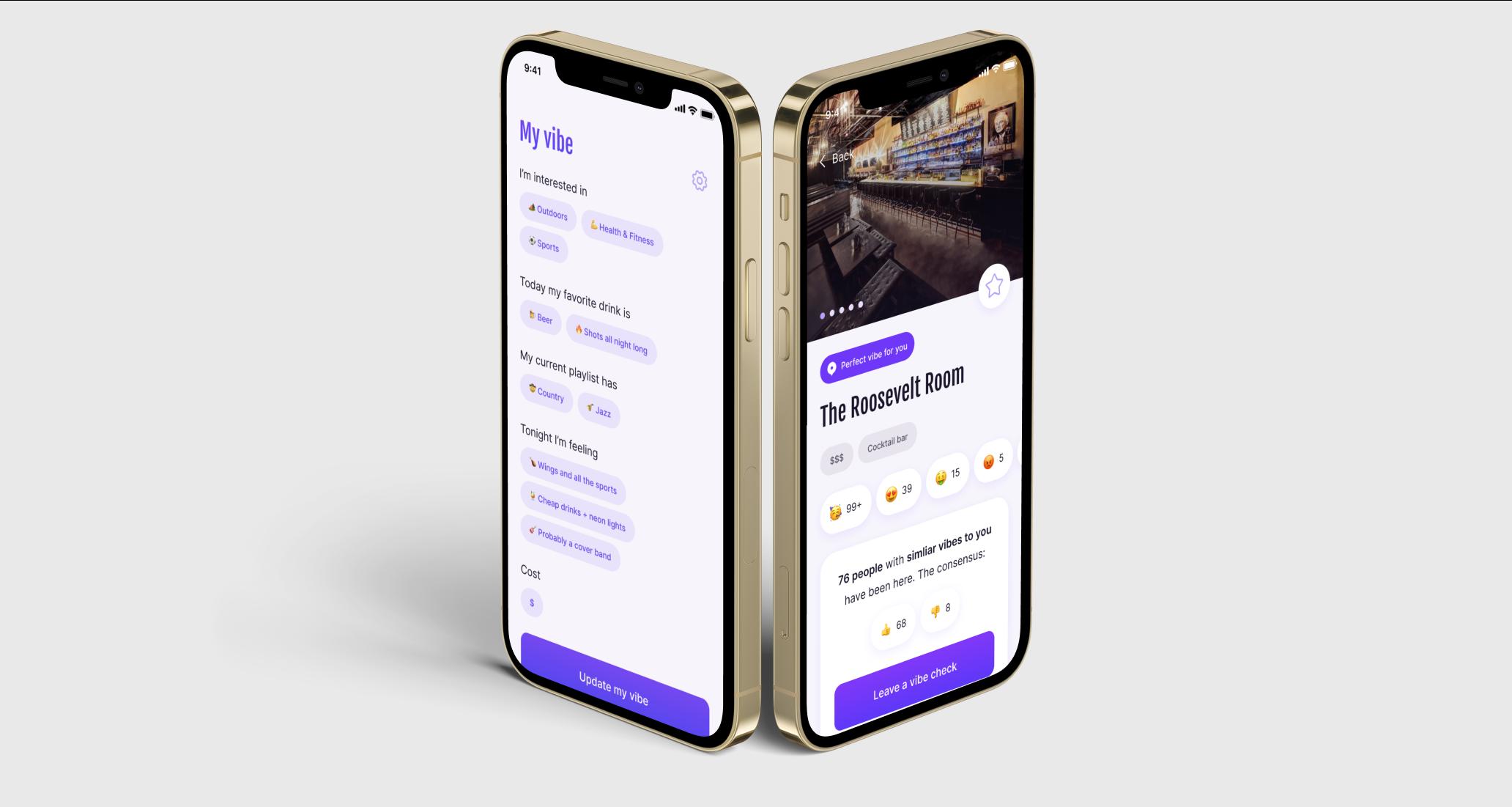 Vybe App mock-ups with screenshots
