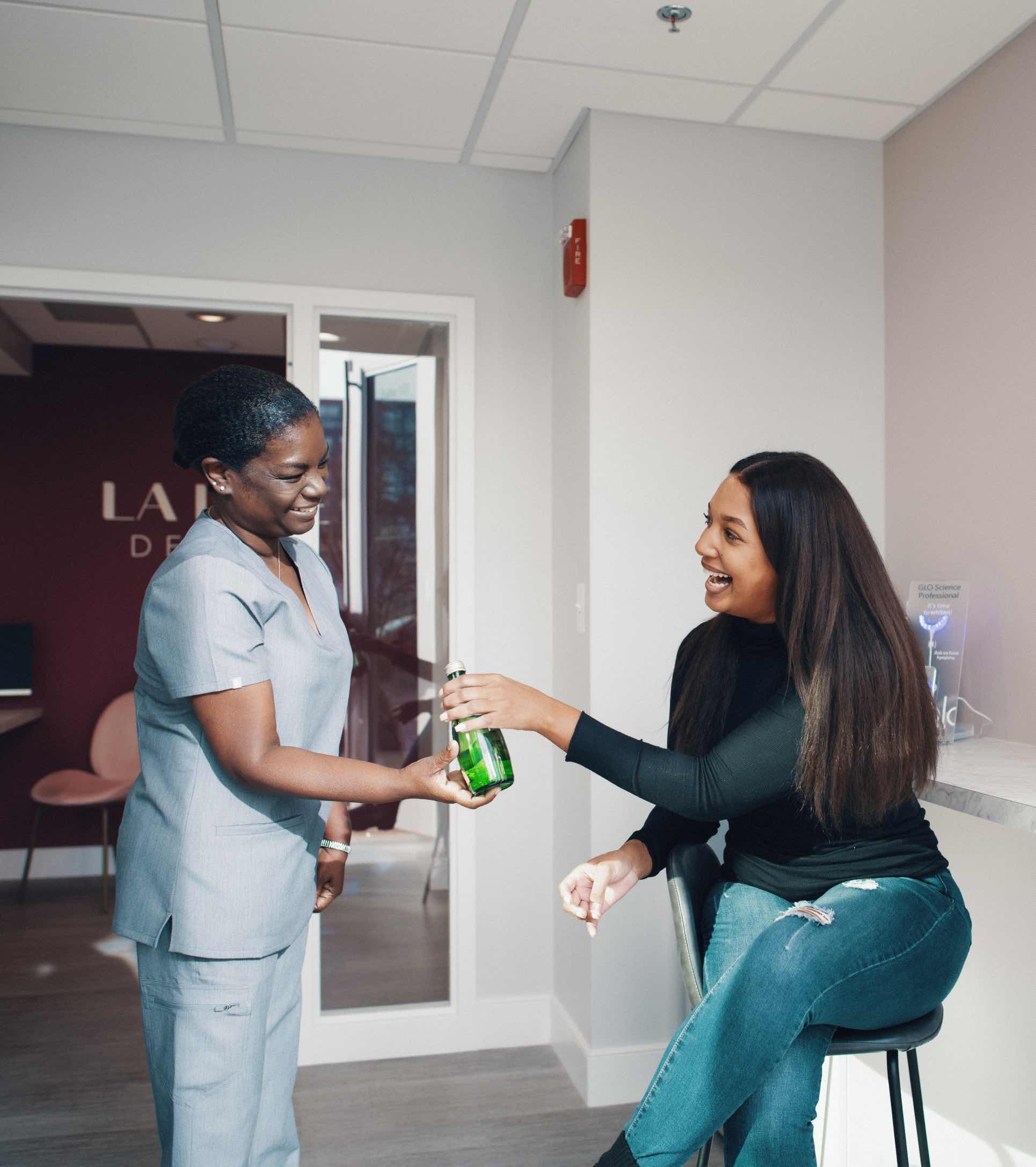 Photo of a team member with a patient