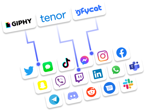 GIPHY, Tenor, gfycat logos -- along with other logos of social platforms that feature GIFs and stickers