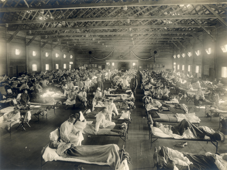 Emergency hospital during Influenza epidemic, Camp Funston, Kansas (from Wikipedia)