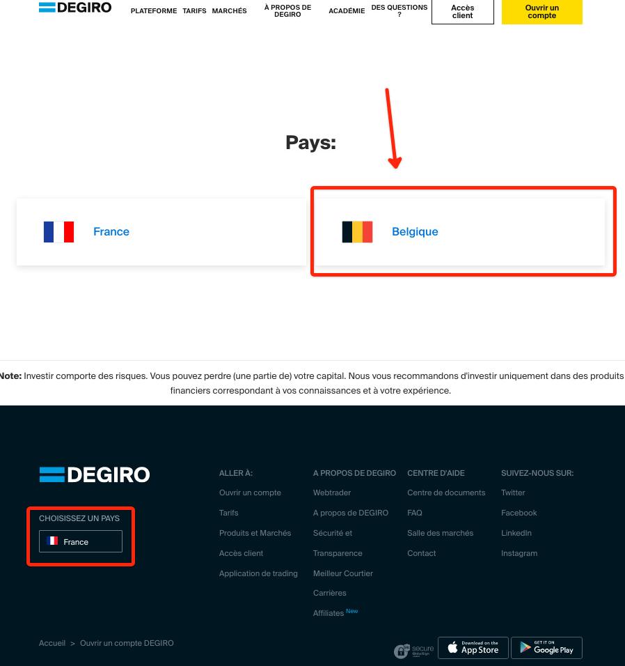 Choose Belgium as a country on Degiro