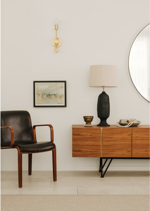 Mid-century dresser, black and wood chair, lamp and some other decor