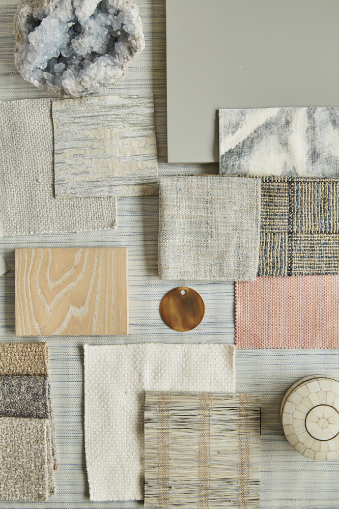 Arrangement of fabrics and other items with different textures