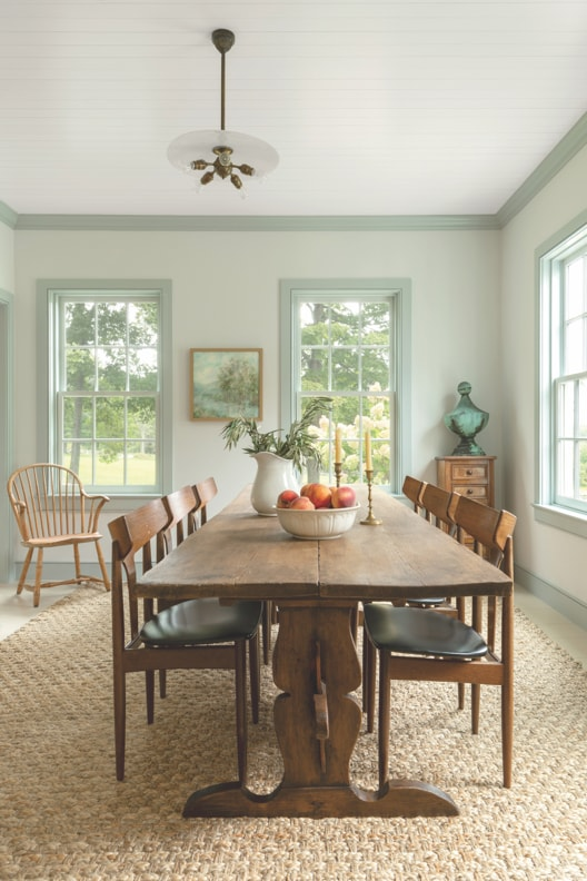 Dining room with large wooden dining table