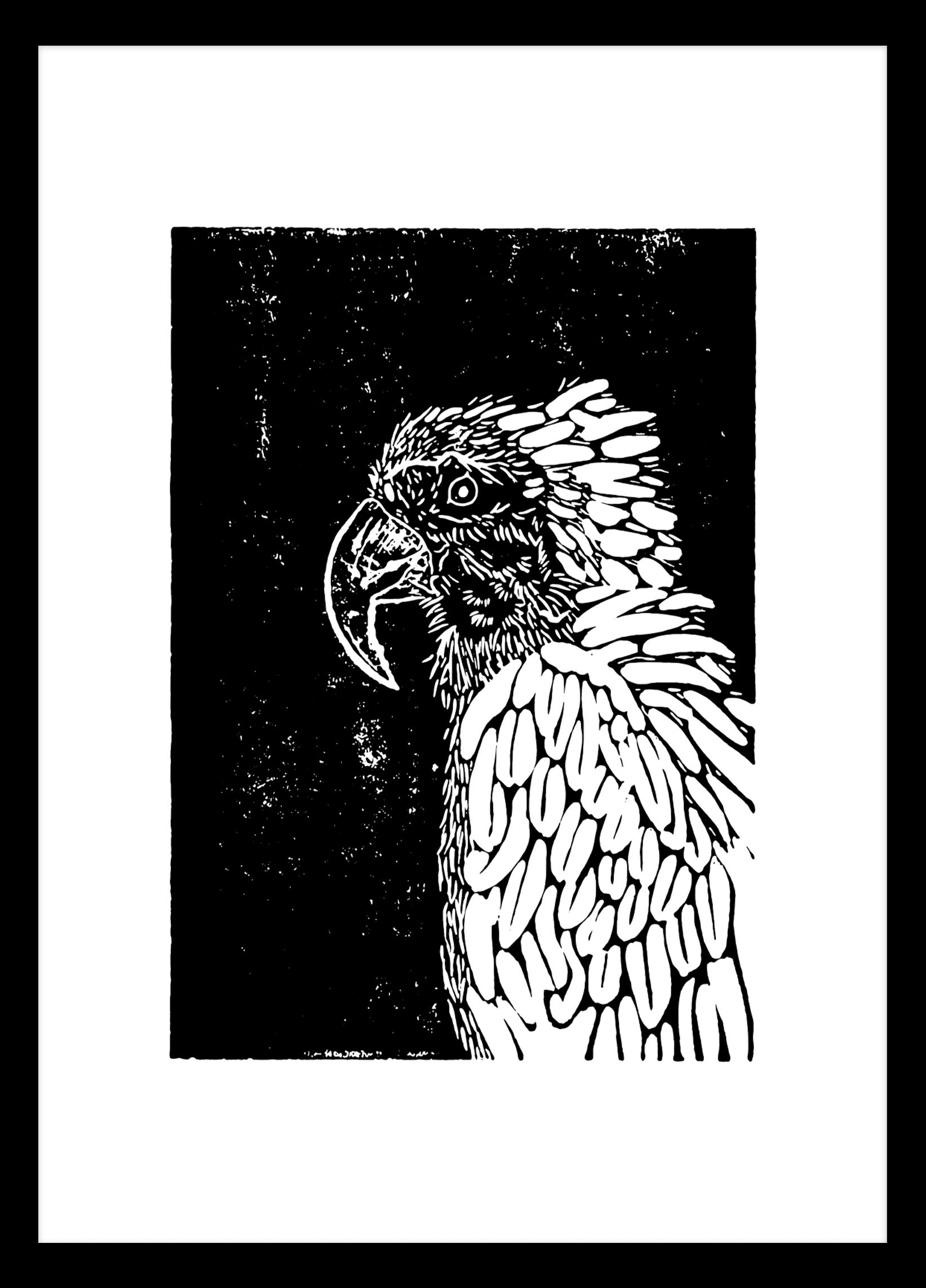 Linoprint Parrot