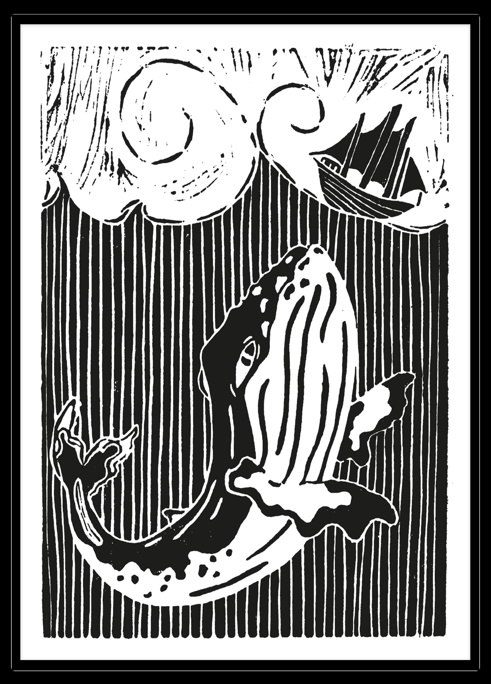 Linoprint Wild Sea