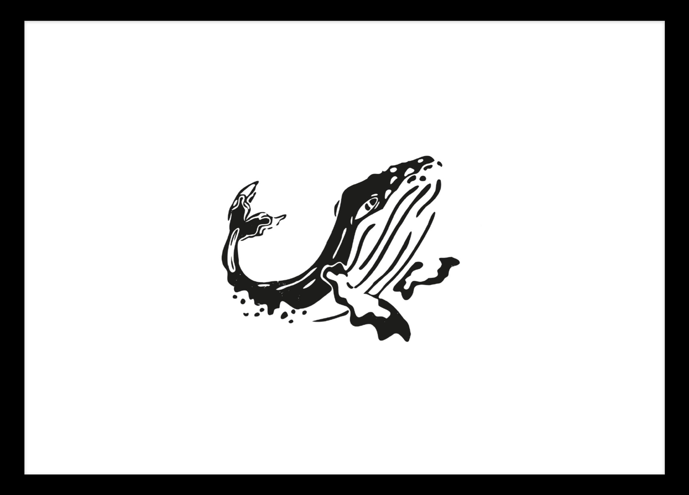 Linoprint Whale