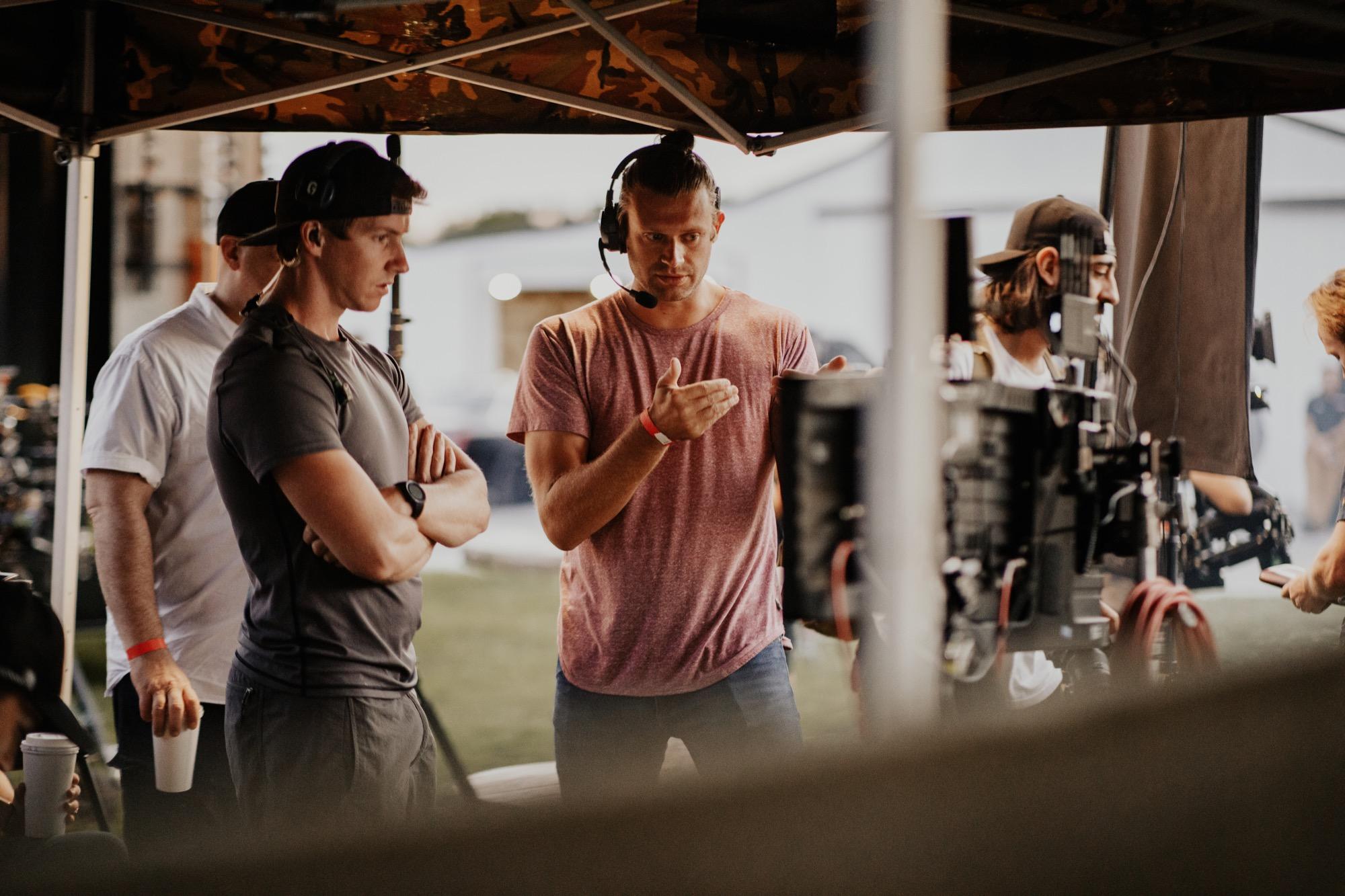 Directors working on set