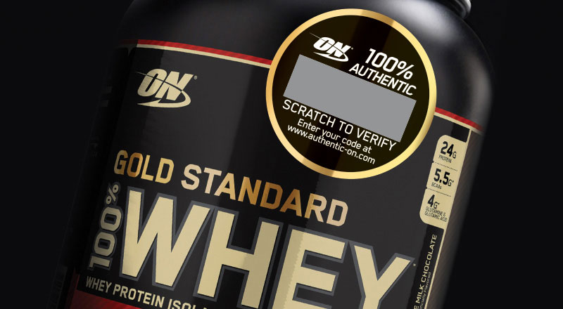 Gold Standard 100% Whey with authentic code sticker