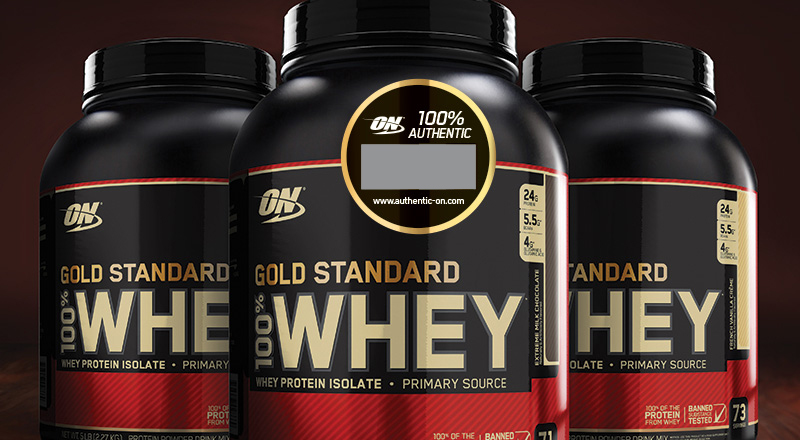 3 bottles of Gold Standard 100% Whey with authentic code sticker